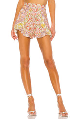 Yellow Floral Ruffle High Waist Shorts - DIOR BELLA