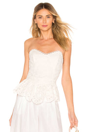 White Lace Corset Top Blouse - DIOR BELLA