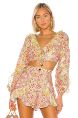 Yellow Floral Long Sleeve Crop Top Blouse - DIOR BELLA