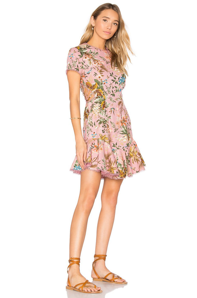 Tropical Lattice Back Mini Dress - DIOR BELLA