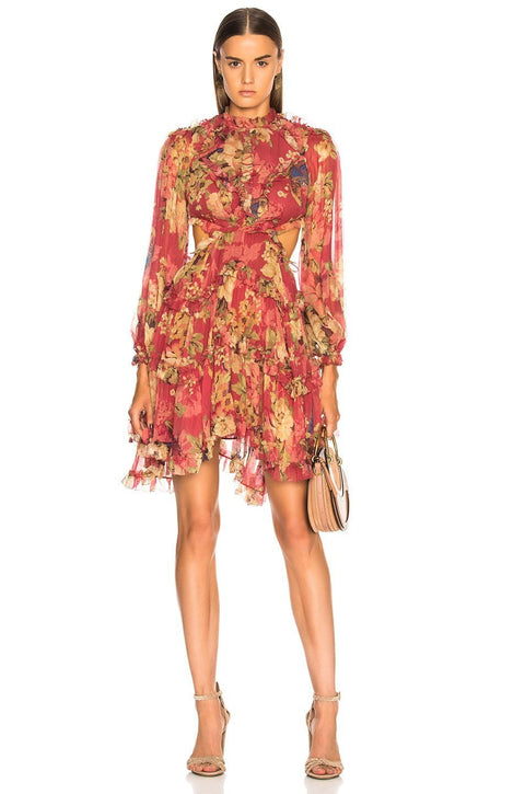 Burgundy Floral Chiffon Lace Up Mini Dress - DIOR BELLA