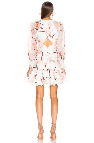Pink Floral Long Sleeve Cutout Mini Dress