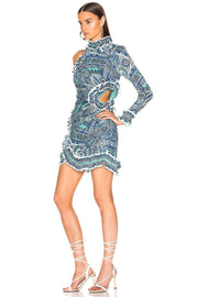 Blue Paisley Print RuffledCutout Mini Dress - DIOR BELLA