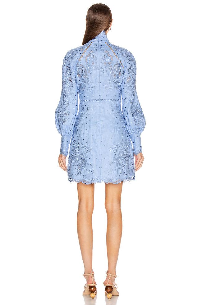Delft Blue Puff Sleeve Embroidered Mini Dress