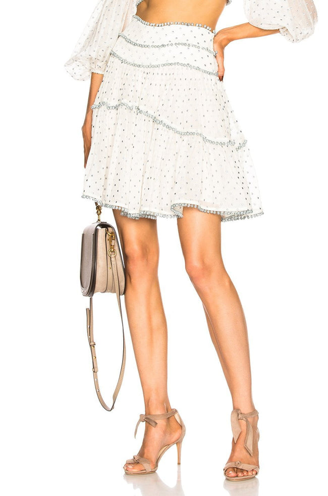 Gray Hearts Polka Dots White Skirt Set - DIOR BELLA