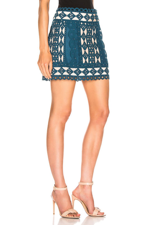 Teal Cutout Studded Mini Skirt - DIOR BELLA