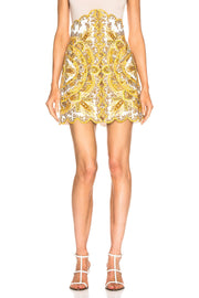 Yellow Print High Waist Mini Skirt - DIOR BELLA