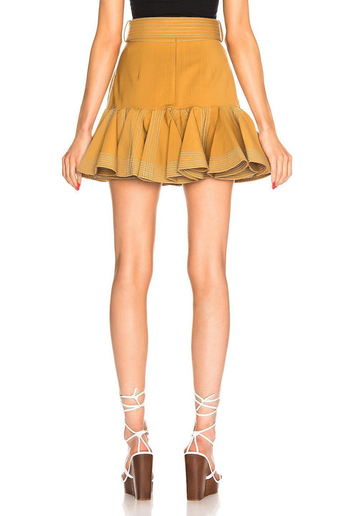 Mud Ruffled Hem High Waist  Mini Skirt - DIOR BELLA