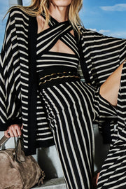 Baylee Sleeveless black Stripe Wrap Jumpsuit - DIOR BELLA