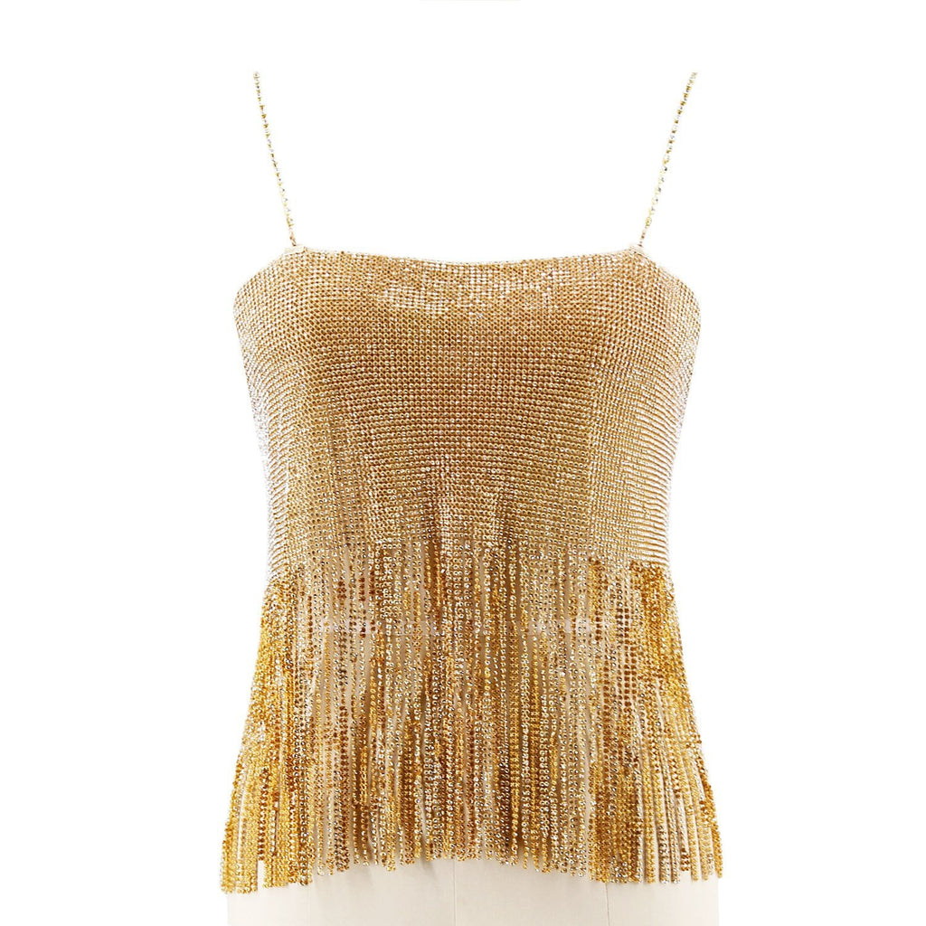 Open Back Rhinestone Fringe Top - DIOR BELLA