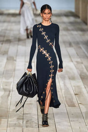 Black Lace Up Long Sleeve Bodycon Maxi Dress