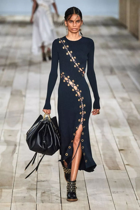 Black Lace Up Long Sleeve Bodycon Maxi Dress - DIOR BELLA