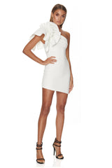 White Ruffled One Shoulder Bodycon Mini Dress