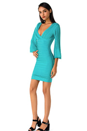 Turquoise V-Neck Bell Sleeves Bodycon Midi Dress