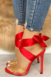 Red Satin Acrylic Ankle Wrap Stiletto Sandals