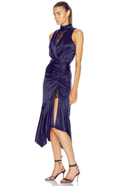 Navy Blue Satin Asymmetrical Mock Neck Dress
