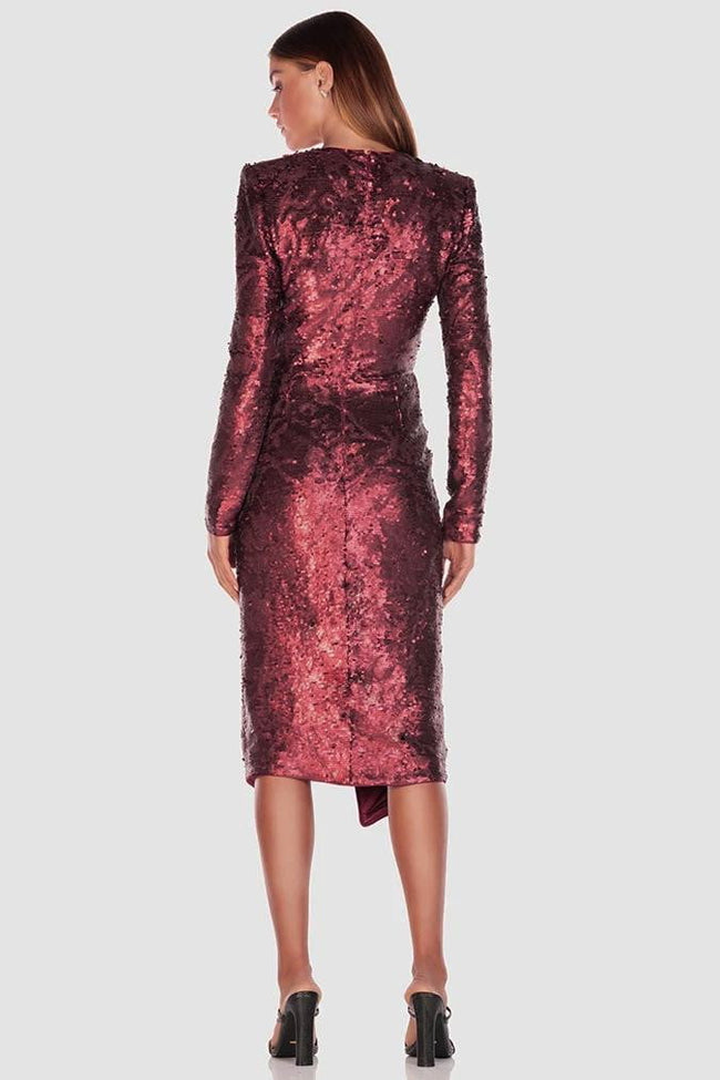 Burgundy Sequins V- Neck Asymmetrical Cocktail Dress