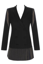 Troy Black Fringe Double Breasted Blazer Jacket Dress - DIOR BELLA