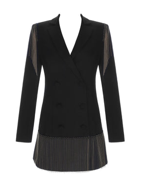Troy Black Fringe Double Breasted Blazer Jacket Dress
