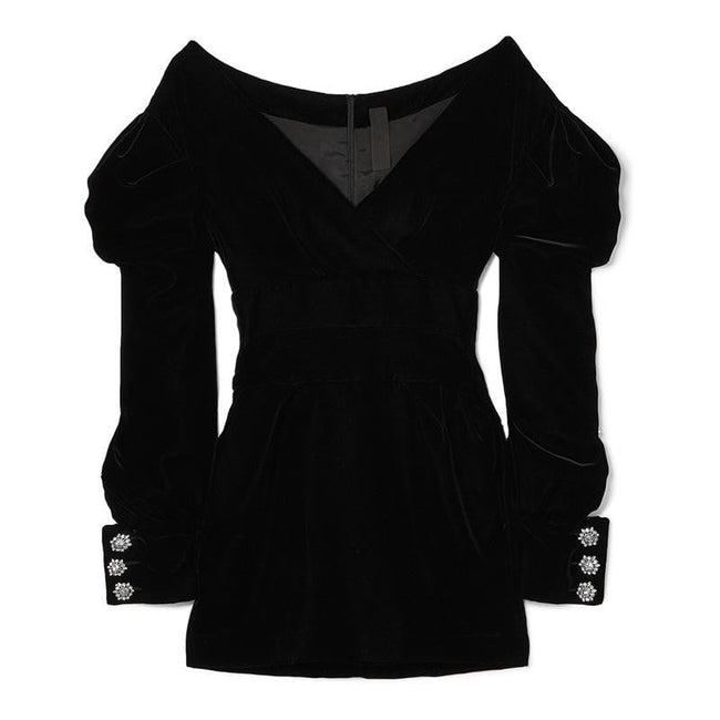 Black Velvet Ruffled Long Sleeve Mini Dress - DIOR BELLA