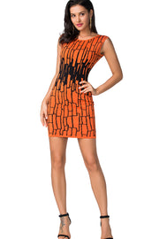 Brooklyn Crew Neck Orange Bandage Mini Dress