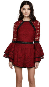 Burgundy Lace Ruffle Sleeves Romper - DIOR BELLA