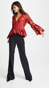 Red Lace Bell Sleeve Blouse Top - DIOR BELLA
