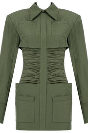 Olive Green Long Sleeve Bodycon Mini Dress - DIOR BELLA