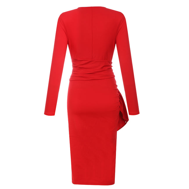 Red V-Neck Long Sleeve Bodycon Midi Dress