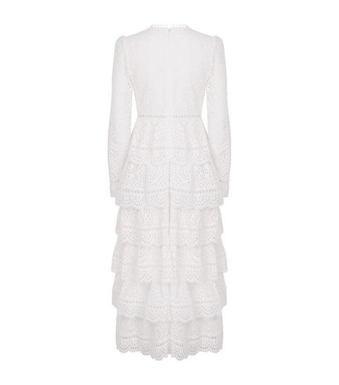 White Lace Tired V-Neck Maxi Dress - DIOR BELLA