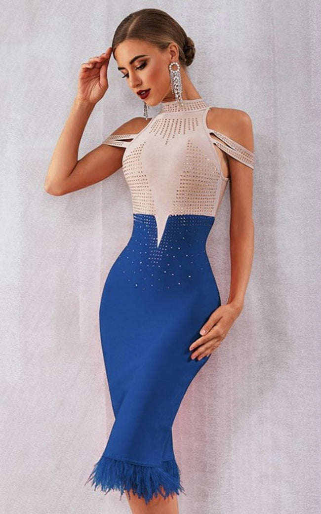 Beaded Cold Shoulder Bodycon Mini Dress - DIOR BELLA