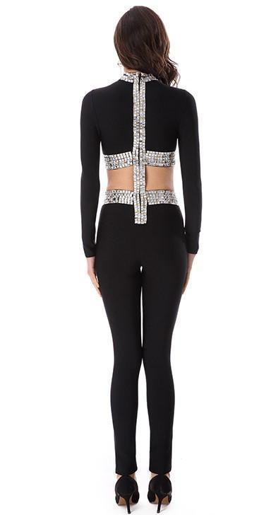 The Wild Card Black Beaded Bandage Jumpsuit - DIOR BELLA