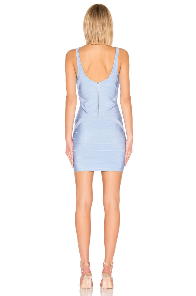 Delft Blue V-Neck Bodycon Mini Dress