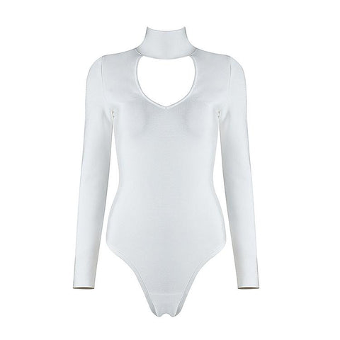 White Mock Neck Bandage Bodysuit - DIOR BELLA