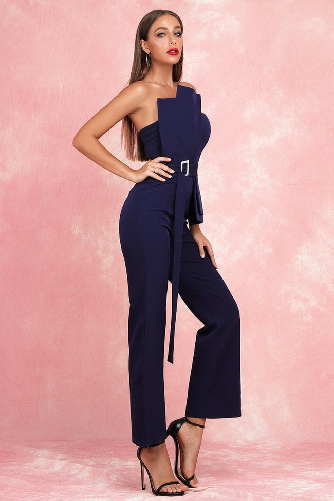 Navy Blue Strapless Jumpsuit - DIOR BELLA
