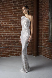 White Sequins One Shoulder Sequin gown