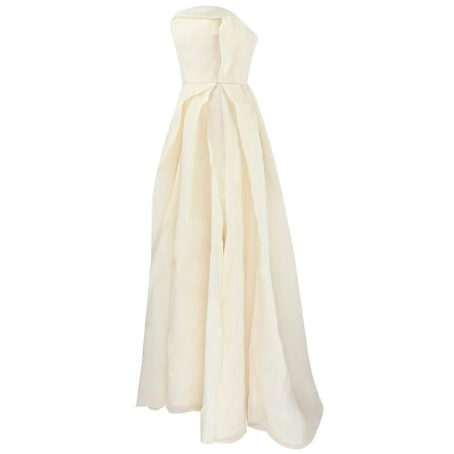 Ivory Satin Strapless Pleated Gown - DIOR BELLA