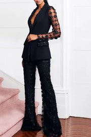 Black Sequins And Mesh Pantsuit