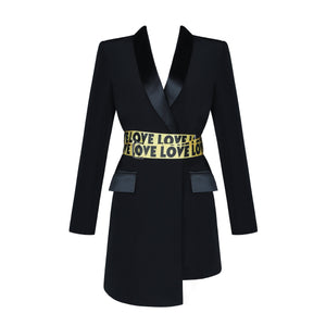Black Love Love Blazer Jacket Dress