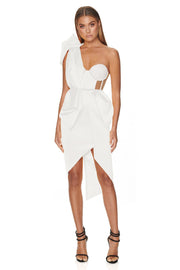 White Sculpted One Shoulder Asymmetrical Dress