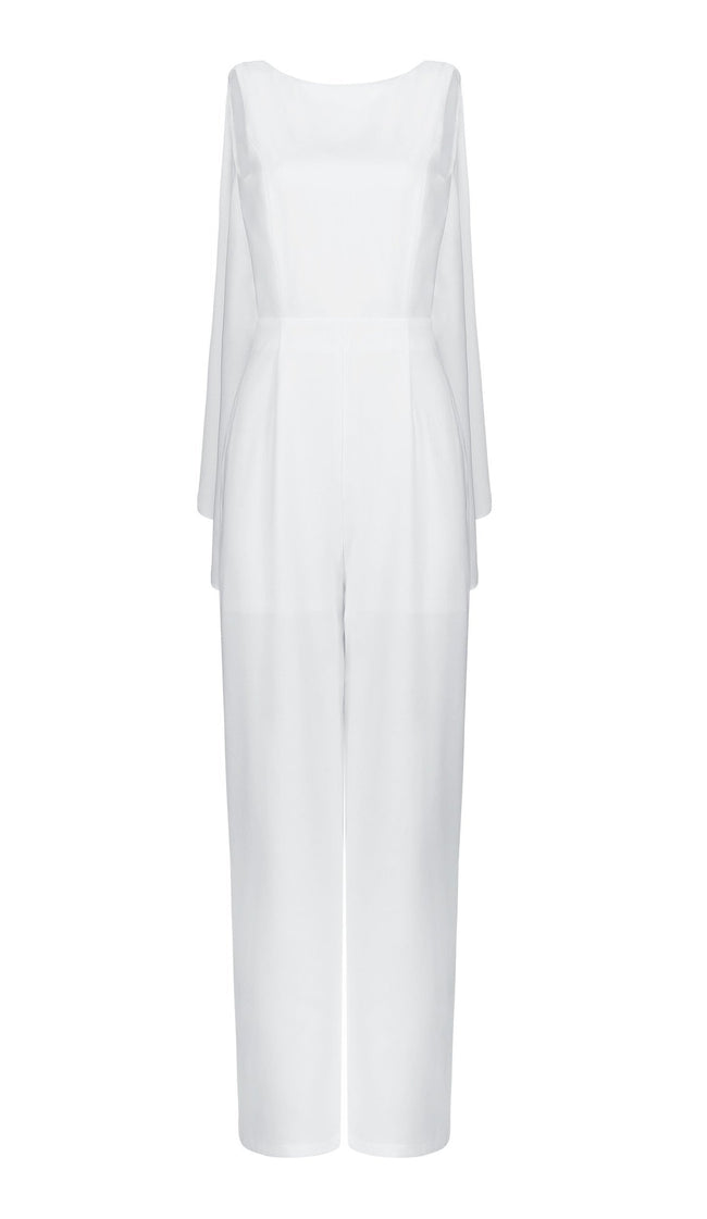 Lotus White Open Back Jumpsuit - DIOR BELLA