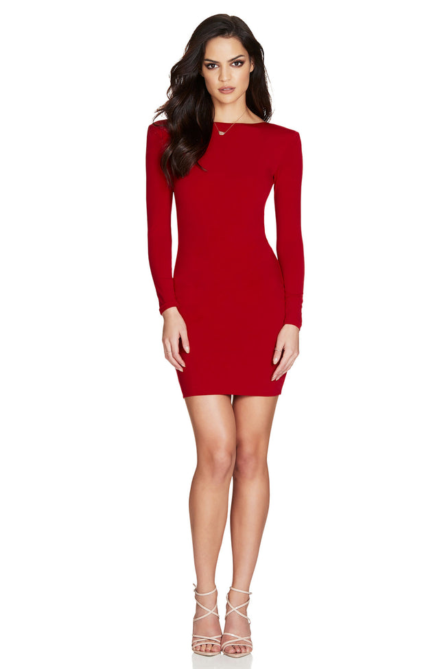 Red Open Back Bodycon Midi Dress