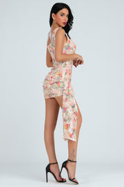Riley Floral Sequins Asymmetrical Mini Dress - DIOR BELLA