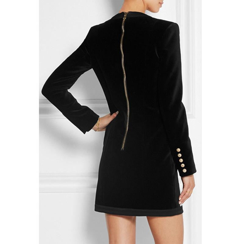 Parker Black  Velvet  Double Breasted Blazer Jacket Mini Dress