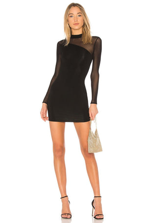 Black Sheer Insert Bandage Mini Dress