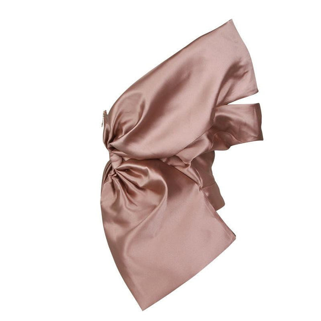 One Shoulder Bow Satin Blouse