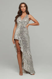 Silver Sequins Ruffled Asymmetrical Dress