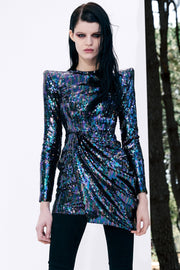 Navy Blue Sequins Cocktail Mini Dress - DIOR BELLA