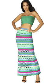 Green Multi Bandage Top And Midi Skirt Suit - DIOR BELLA