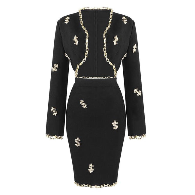 Gold Dollars Black Beaded Bandage Skirt Suit - DIOR BELLA